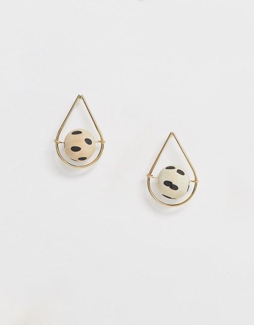 Image 1 of ASOS DESIGN earrings in open teardrop shape with wood ball in gold tone