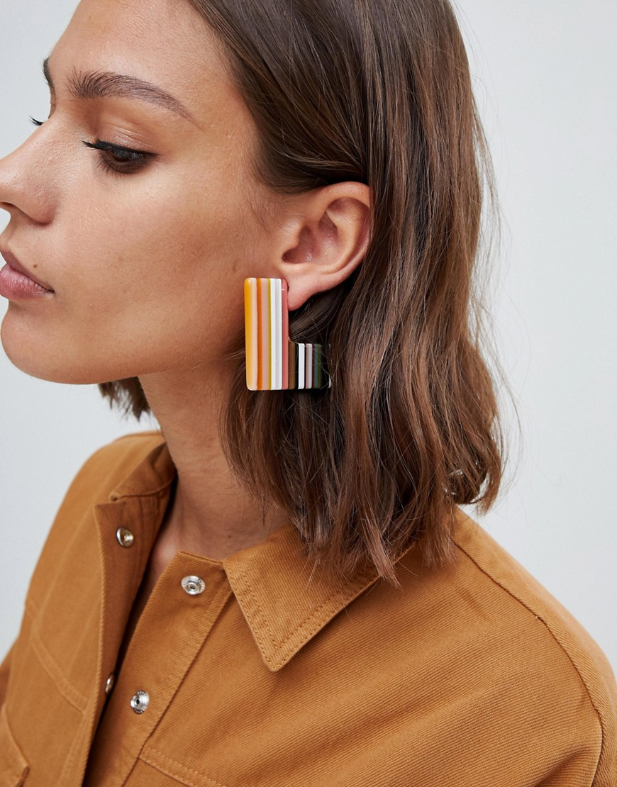 Asos Design Earrings In Square Slice Resin by Asos Design