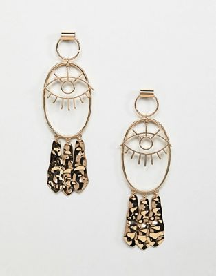 Image 1 of ASOS DESIGN earrings with eye design and hammered pendants in gold