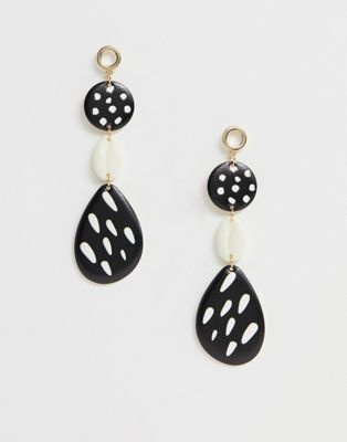 ASOS DESIGN earrings with pattern bead and faux shell drop in gold tone