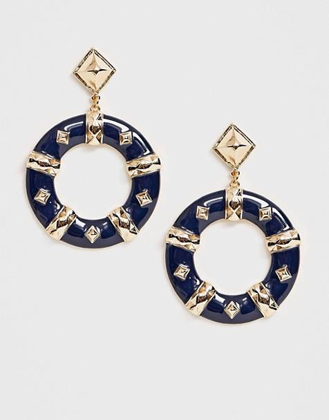 ASOS DESIGN earrings with studded open circle drop in gold tone
