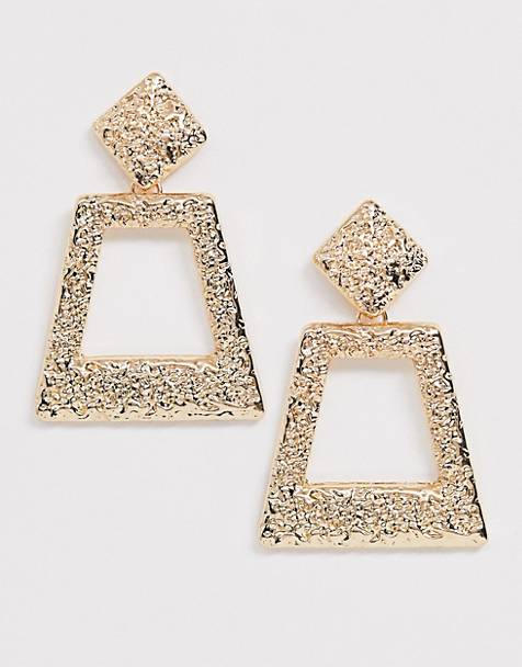 ASOS DESIGN earrings with textured diamond stud and drop in gold tone