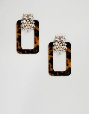 ASOS DESIGN earrings with tortoiseshell open shape and crystal design