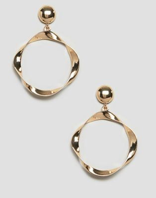 ASOS DESIGN earrings with twisted open circle in gold
