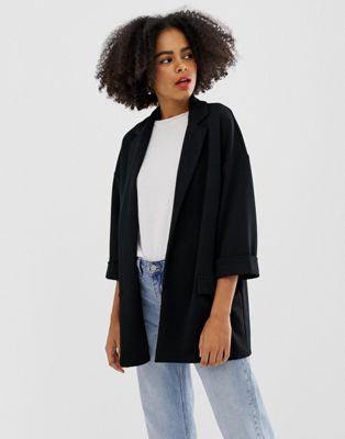 ASOS DESIGN easy relaxed blazer in textured jersey