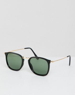 ASOS DESIGN – Eckige Sonnenbrille in Schwarz mit goldenem Metalldetail
