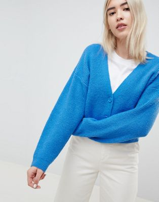 ASOS DESIGN eco cropped cardigan in fluffy yarn with buttons