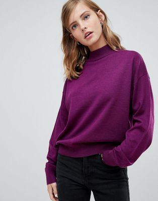 ASOS DESIGN eco jumper in loose fit with turtle neck and balloon sleeve