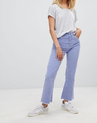 Image 1 of ASOS DESIGN Egerton rigid cropped flare jeans in dusty lilac cord