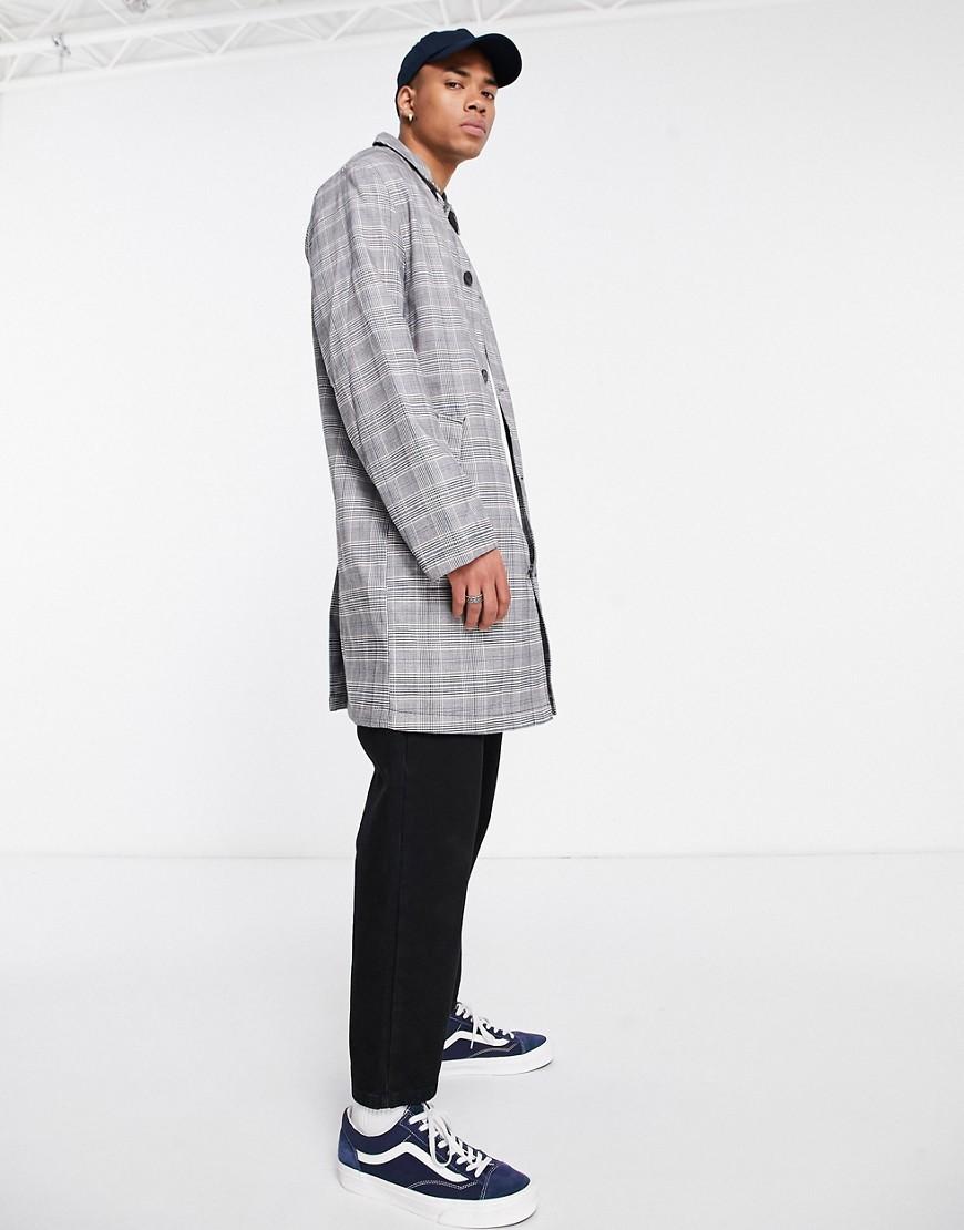 asos design -  – Einreihiger, karierter Trenchcoat in Grau