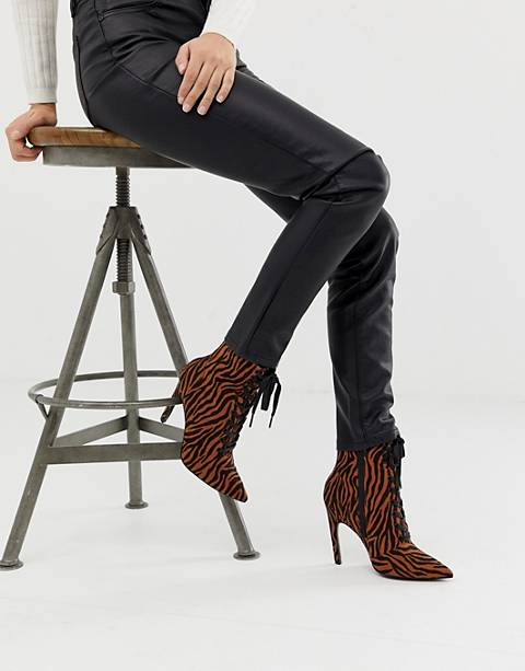 ASOS DESIGN Elaina tiger print lace up boots