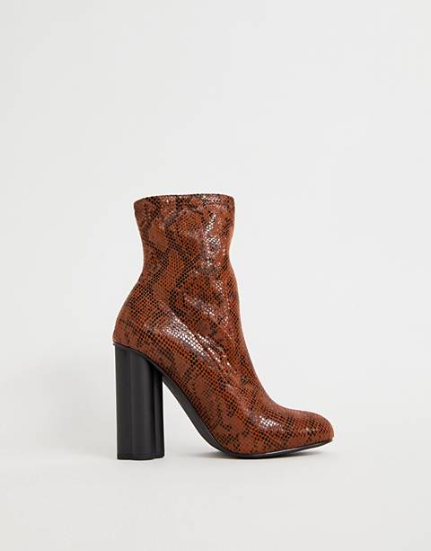 ASOS DESIGN Eliza heeled sock boots in snake