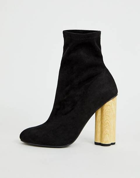 ASOS DESIGN Eliza wooden heeled sock boots