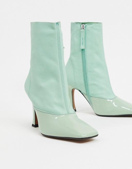 ASOS DESIGN - Ellie - Bottes souples en cuir à talons - Vert Chaussures femme