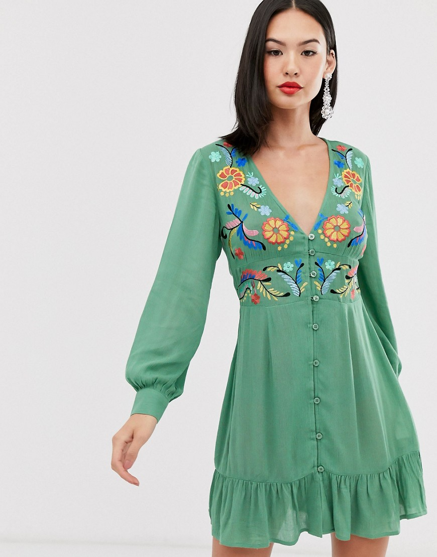 asos design embroidered casual button through mini dress-green