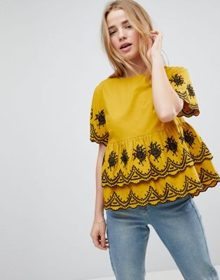 ASOS DESIGN Embroidered Ruffle Smock Top