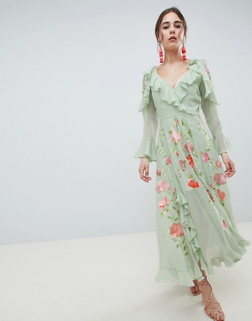 049d4d46dc0f1 ASOS DESIGN Embroidered Wrap Maxi Dress