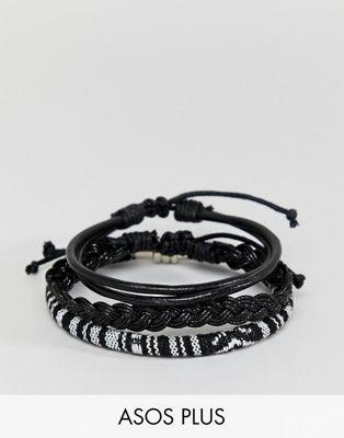 Bild 1 av ASOS DESIGN – Enfärgat vävt armband i skinnn, i plisstorlek