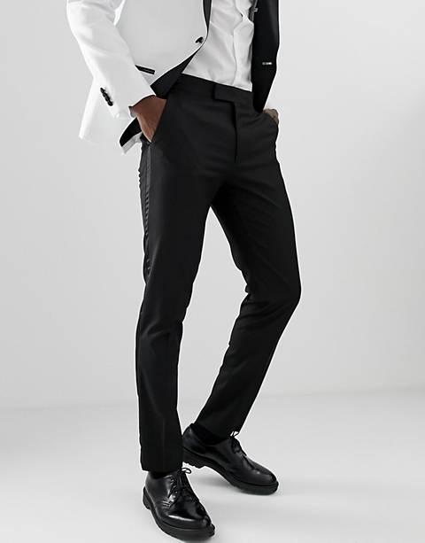 ASOS DESIGN – Eng geschnittene Smokinghose in Schwarz