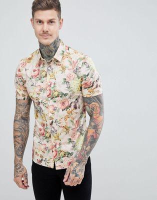 ASOS DESIGN – Enges Hemd mit Blumenmuster