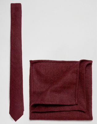 ASOS DESIGN - Ensemble cravate et pochette au fini texturé - Bordeaux