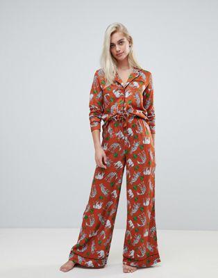 ASOS DESIGN - Ensemble de pyjama large en 100% modal avec chemise à imprimé animal et safari