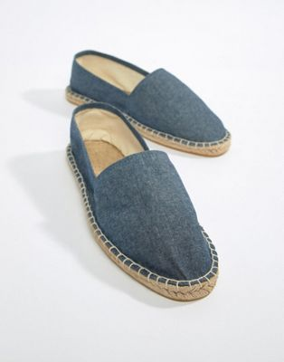 ASOS DESIGN Espadrilles In Blue Chambray