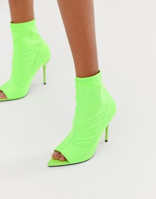 Image 1 of ASOS DESIGN Esther stiletto sock boots in neon green