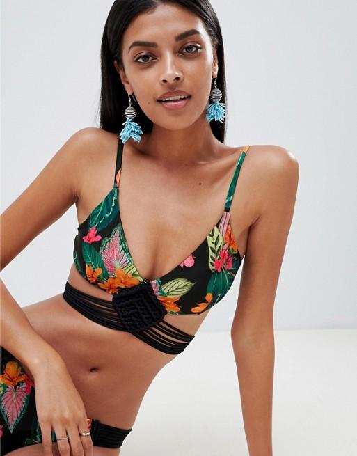 ASOS DESIGN Exotic Leaf Print Hand Macrame Triangle Bikini Top