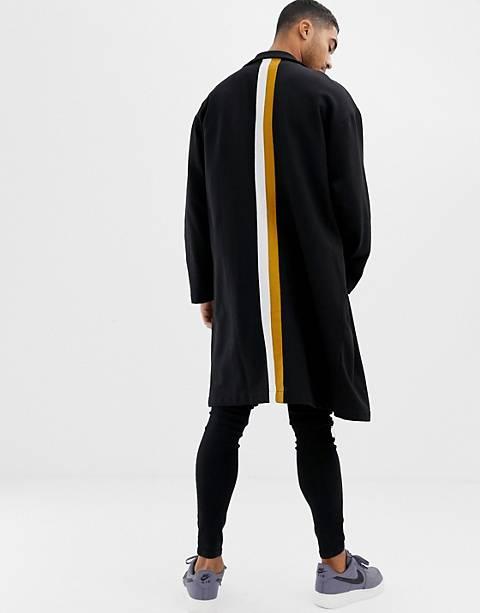 ASOS DESIGN extreme oversized duster jacket in black with back stripes