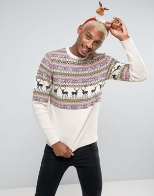 ASOS DESIGN Fairisle Sweater With Stag Design