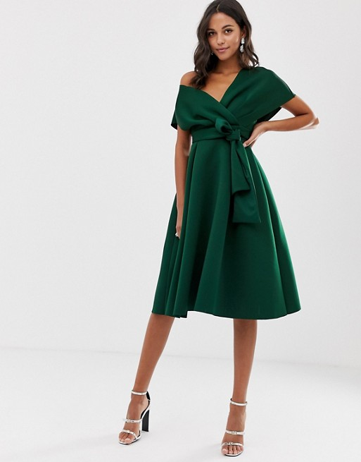 ASOS DESIGN Fallen Shoulder Prom Dress with Tie Detail