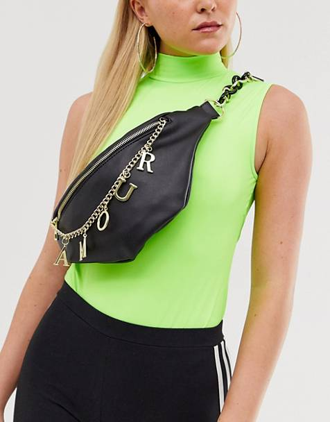 ASOS DESIGN fanny pack with 'Amour' charm chain detail