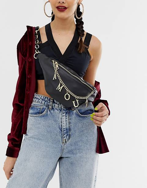 ASOS DESIGN fanny pack with charm chain detail