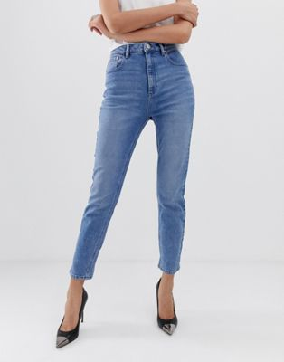 ASOS DESIGN Farleigh high waist slim mom jeans in light stone wash