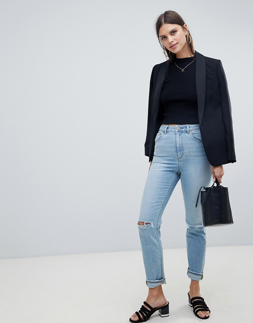 Asos Design Farleigh High Waist Slim Mom Jeans In Light Stonewash Blue With Ripped Knees by Asos Design