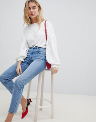 ASOS DESIGN Farleigh High Waist Slim Mom Jeans In Mid Wash With Knee Seam Detail
