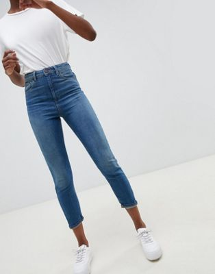 ASOS DESIGN Farleigh high waist slim mom jeans in neo wash