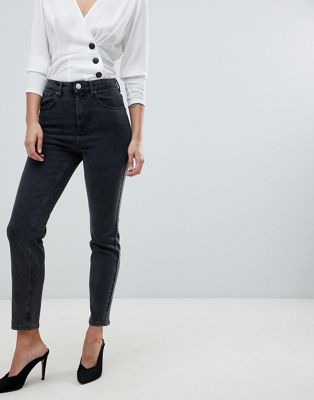 Image 1 of ASOS DESIGN Farleigh high waist slim mom jeans in washed black