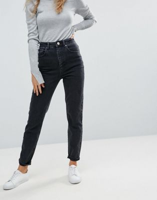 ASOS DESIGN Farleigh high waist slim mom jeans in washed black