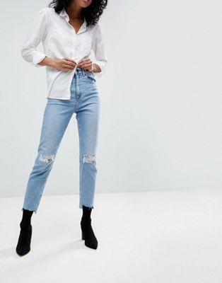 ASOS DESIGN Farleigh high waist slim mom jeans in zaliki light vintage wash with busted knee and rip & repair detail