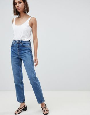 ASOS DESIGN Farleigh high waist straight leg jeans in dark stone wash