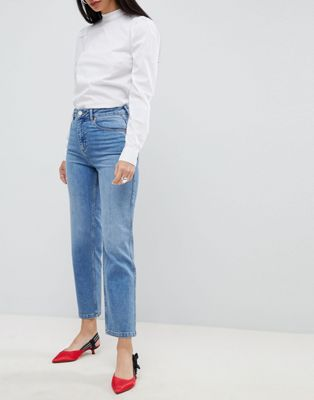 ASOS DESIGN Farleigh high waist straight leg jeans in stone wash blue