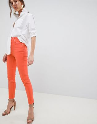 ASOS DESIGN Farleigh High Waisted Slim Mom Jeans In Neon Orange With Contrast Stitch