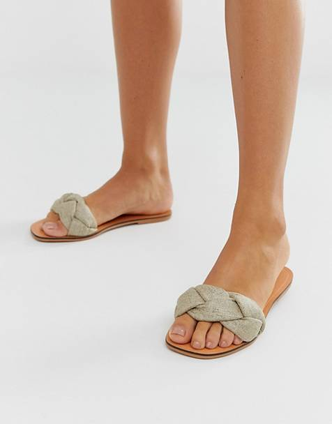ASOS DESIGN Farlow plaited flat sandals in natural