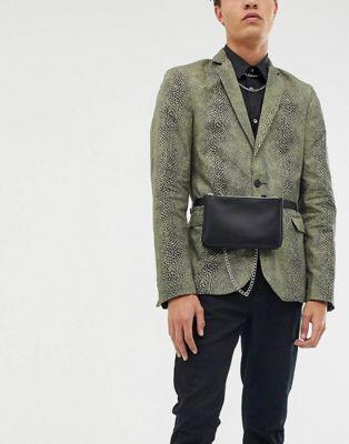 ASOS DESIGN faux leather belt bag in black
