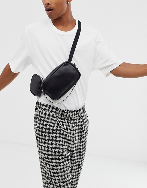 ASOS DESIGN faux leather cross body bum bag with multi pockets and chain