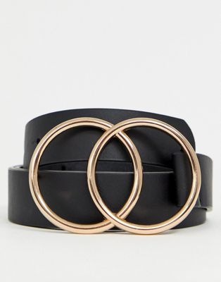 ASOS DESIGN faux leather slim belt with double circle buckle in black