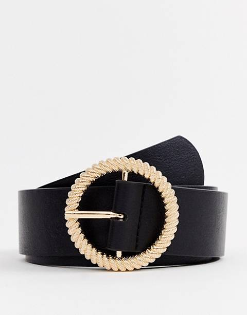 ASOS DESIGN faux leather wide belt in black with gold circle buckle