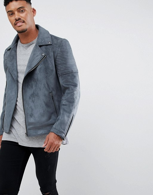 Image 1 of ASOS DESIGN faux suede biker jacket in gray
